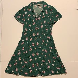 ASOS dress green with pink flowers